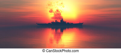 sunset and militaryboat - sunset and military ship