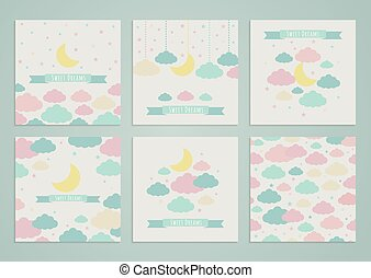 Sweet dreams backgrounds - Set of backgrounds with moon,...