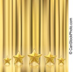 golden curtain theater background with stars in a row