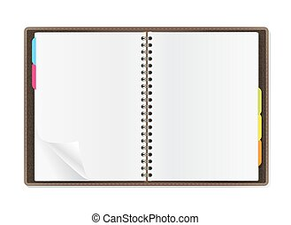 open diary pages on white background