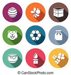 Apiary Icons Set Vector Illustration - Isolated Flat Icons...