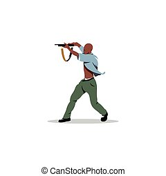African man with gun. Vector Illustration.