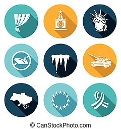 USA Russia conflict Icons Set Vector Illustration - Isolated...