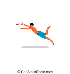 Attractive man playing frisby. Vector Illustration. - Man...