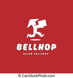 Bellhop Asian deliveryman runs speed delivery cargo box hat...