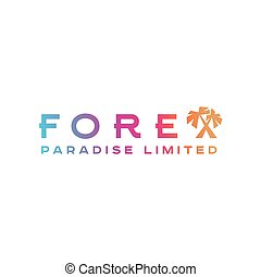 Logo Forex Paradise Palm trees corporate instead letter X...