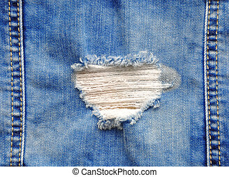 Blue denim jeans in bright color tear up surface condition...
