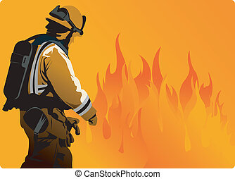 A fire fighter moving towards heavy flame to extinguish fire...