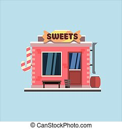 Candy Shop Front. Vector Illustration