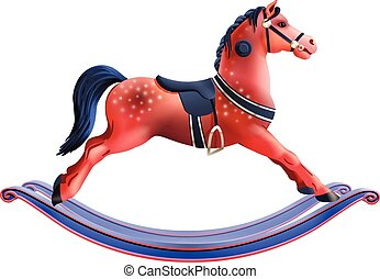 Rocking horse realistic - Realistic red child toy rocking...