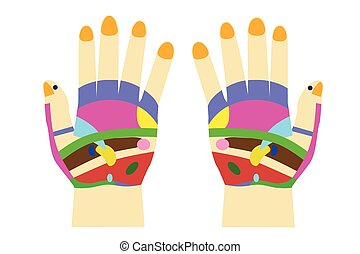Acupuncture - Hand  - Vector Acupuncture - Hand