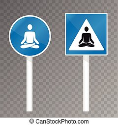 road sign with meditating silhouette