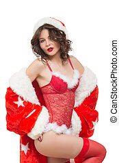 Snow Maiden sexy sexy santa girl - Snow Maiden sexy Isolated...