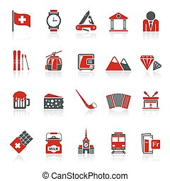 Switzerland industry icons - Switzerland industry and...