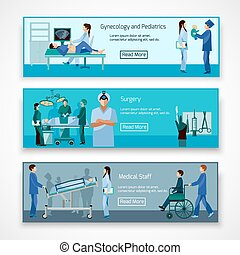 Medical professionals at work banners set - Medical...