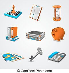 Business realistic icons