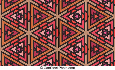 Vector Seamless Pink Shades Multicolor Triangle Ornaments Pattern