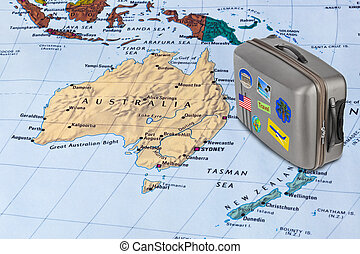 Australia map and travel case with stickers (my photos)