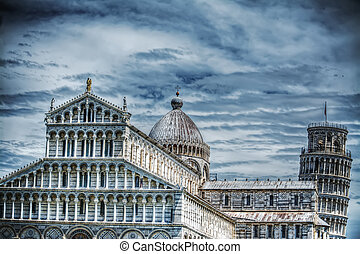 Santa Maria Assunta cathedral and leaning tower in Pisa -...