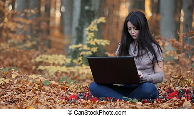 girl with a laptop - beautiful girl with a laptop in the...
