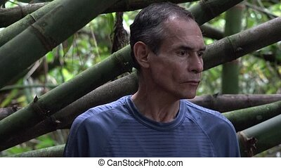 Confused Man Alone in Jungle