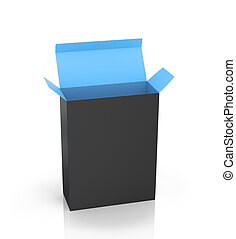 Software Package Box Opened Black Inside Blue on a white background