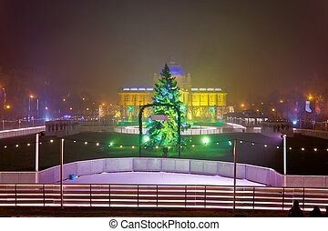 Advent time Zagreb evening view, capital of Croatia