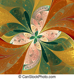 Beautiful diagonal fractal flower in stained-glass window...