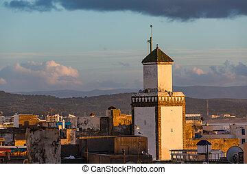 Mosque at sunset in Essaouira