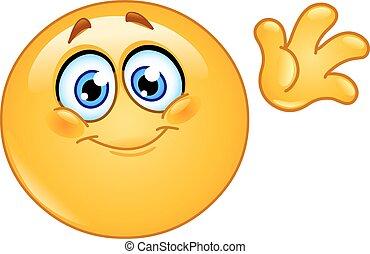 Waving hello emoticon - Cute emoticon waving hello