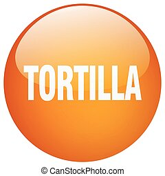 tortilla orange round gel isolated push button
