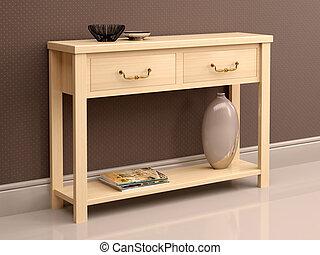 3d illustration of light wooden dresser against the dark...
