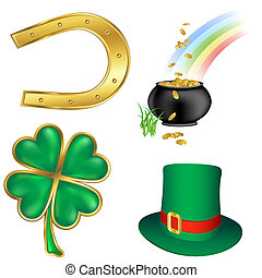 st patrick`s day icons set