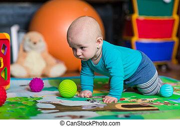 CÙte, wenig, bunte, Spielzeuge,  baby, spielende