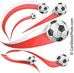 poland ,japan and  indonesia flag  set with soccer ball