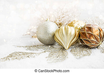 Golden Christmas Globes and Decoration