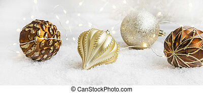 Golden Christmas Globes and Lights Decoration