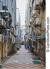 dirty alleyway with aircon outdoor units - dirty alleyway...