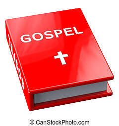 Red book with word Gospel