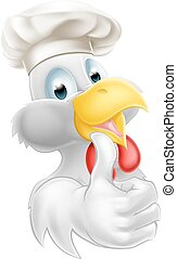 Cook Hat Cartoon Chicken - Cartoon white chicken wearing a...