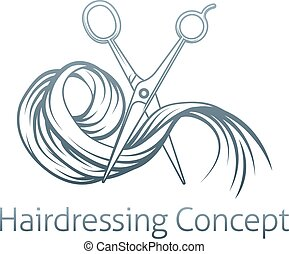 Hairdresser concept of a pair of hairdresser scissors...