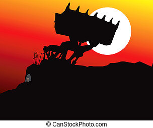earth mover machine under moonlight - Illustration of an...