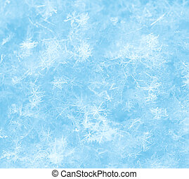 Snowflake ice crystals background, blue snow surface