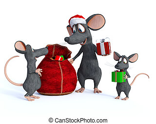 Cartoon mouse Santa handing out presents to kids - A cute...