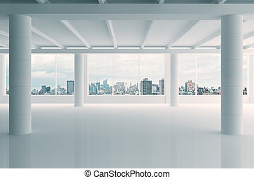 Modern white hangar area with city view