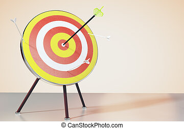 Dart board on the table and a direct hit on target