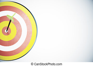 Dart board and a direct hit on target