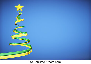 Concept christmas tree at blue background