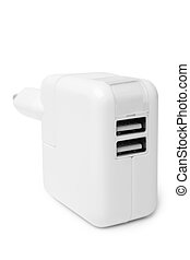 Electrical adapter to USB ports on white background