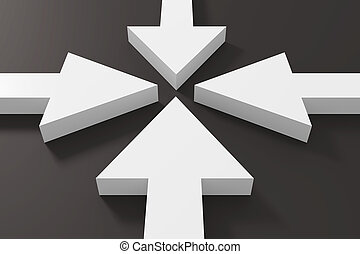 White arrows - 3d rendering of some white arrows